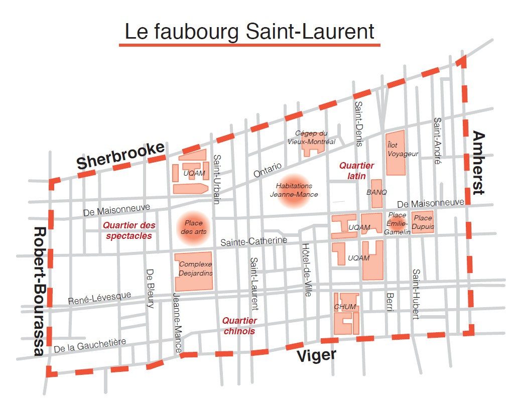 Carte du Faubourg Saint-Laurent