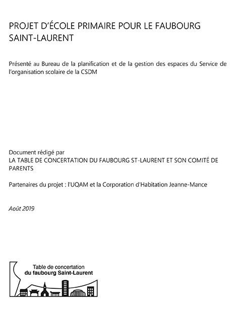 Projet ecole primaire Faubourg St Laurent